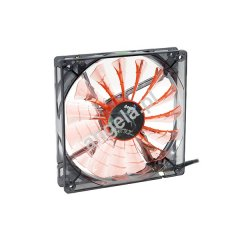 Aerocool 140mm Shark Fan Black Evil Edition - Transparent Black - Orange LED
