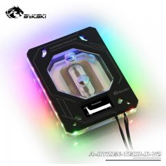 Bykski A-RYZEN-TECH-X-V2 5v RBW Addressable CPU Block With OLED Display - AMD AM4/TR4 - Black