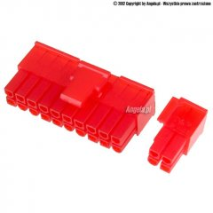 Mod/smart ATX Power Connector 20+4pin plug - UV red
