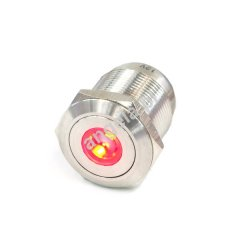 Phobya push-button 16mm stainless steel, red dot lighting 5pin