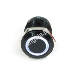 Phobya push-button 19mm Aluminum black, white ring lighting 6pin