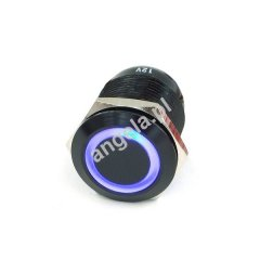 Phobya push-button 19mm aluminum black, blue ring lighting 6pin