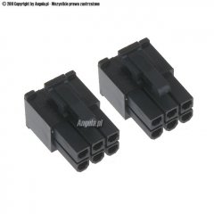 Phobya VGA Power Connector 6Pin plug (square) with pins - 2 pcs Black
